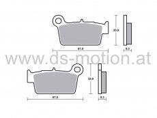 Bremsklötze 67 x 35,9 mm, Beta RR 50 Enduro, Motard 2012-, RR 125 SM, Trial 2006- hinten