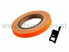 Felgenrandaufkleber 7 mm, orange, reflektierend, DS RACING, inklusive Montagehilfe, ausreichend für 2 Felgen mit 17
