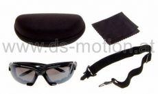 Motorradbrille - Sonnenbrille, schwarz, inkl. Hartschalenetui, Kopfband und Reinigungstuch